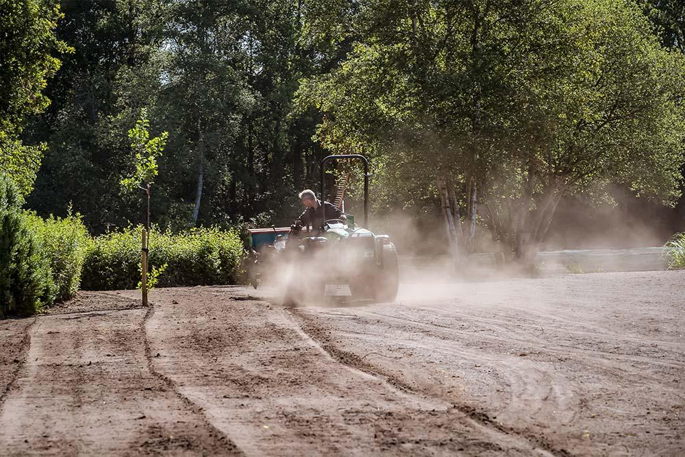 Renovatie bestaande tuin, aanleg strandjes, ingraven van beregening en aanleg gazons